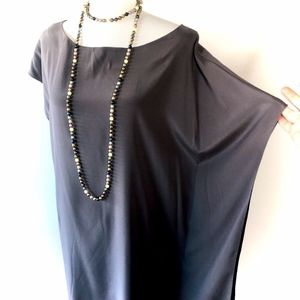 RAMY BROOK silk structural charcoal shimmery tunic